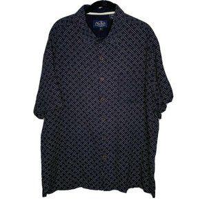 Nat Nast Navy Blue Short Sleeve Button Shirt Sz M